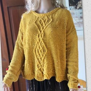 ABSOLUTELY CREATIVE LOOSE KNIT MUSTARD SWEATER L